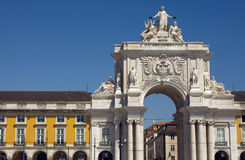 Lisbon - Praça do Comércio. View of the arch in Praça do Comércio - Lisbon Stock Photo