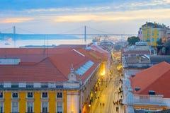 Lisbon przy półmrokiem, Portugalia Fotografia Royalty Free