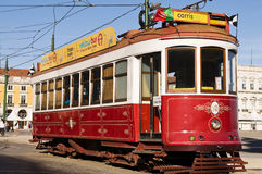 Lisbon red tram. Traditional Lisbon tramway in red color Stock Photos