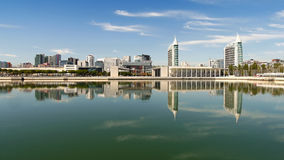 Lisbon reflection. LISBON - Modern buildings on the riverfront in Nations Park, Lisbon, Portugal. Reflection in water. October 6, 2016 Stock Photography