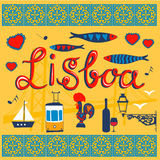 Lisbon related typical icons collection Royalty Free Stock Images