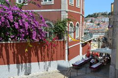 Lisbon restaurant, Portugal. A nice and romantic restaurant in Lisbon, Portugal, with a beautiful view on the castle Royalty Free Stock Image