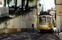Lisbon ride on tram 28 Royalty Free Stock Photography