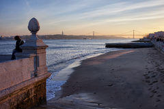 Lisbon River Beach at Sunset Royalty Free Stock Photography
