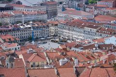 Lisbon roofs - Praca Figueira  Square of Lisbon Stock Image