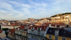 Lisbon roofs view red travel stock photos