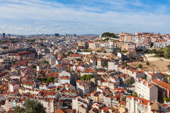 Lisbon rooftop from Sao Jorge castle viewpoint  in Portugal Royalty Free Stock Photography