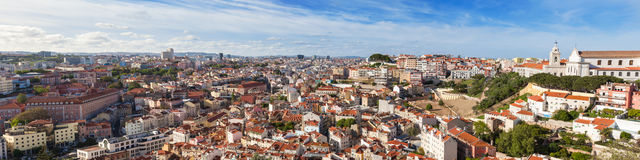 Lisbon rooftop from Sao Jorge castle viewpoint  in Portugal Royalty Free Stock Image