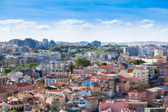 Lisbon rooftop from Sao Jorge castle viewpoint  in Portugal Stock Image