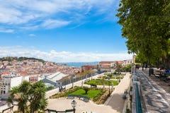 Lisbon rooftop from Sao Pedro de Alcantara viewpoint - Miradouro Stock Photos