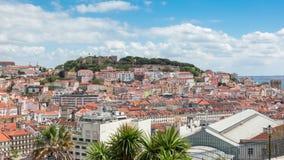 Lisbon rooftop from Sao Pedro de Alcantara viewpoint - Miradouro. In Portugal stock footage