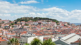 Lisbon rooftop from Sao Pedro de Alcantara viewpoint - Miradouro stock footage