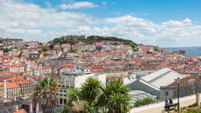 Lisbon rooftop from Sao Pedro de Alcantara viewpoint - Miradouro stock video