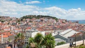 Lisbon rooftop from Sao Pedro de Alcantara viewpoint - Miradouro. In Portugal stock video