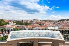 Lisbon rooftop from Sao Pedro de Alcantara viewpoint - Miradouro Stock Images