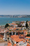 Lisbon rooftops. A view of Lisbon cityscape and the Tagus river, from the Pantheon Stock Photo