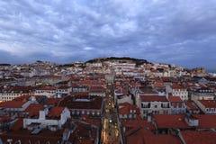 Lisbon Rooftops. Lisbon night lights landmarks Castelo Sao Jorge Baixa rooftops Portugal Royalty Free Stock Photos