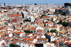 Lisbon rooftops. View to the Lisbon city from castle of St. George Royalty Free Stock Image