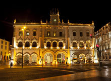 Lisbon, Rossio railway station at night Royalty Free Stock Image