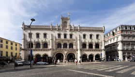 Lisbon Rossio Railway Station. View of the Romantic Neo-Manueline facade of the Rossio Railway Station  in Lisbon, Portugal Stock Photography