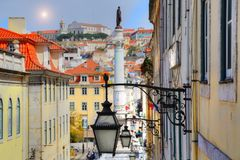 Lisbon, Rossio Square. Portugal, Lisbon, Landmark Rossio Square stock photography