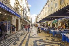 Lisbon Rua Augusta i swój restauracja Obraz Royalty Free