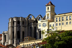 Lisbon's Carmo Convent. View of Lisbon's Carmo Convent and surrounding rooftops Stock Image