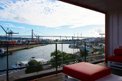 Lisbon Red Bridge Waterfront View, Seafront Red Cushion, City Harbor, Travel Portugal stock image