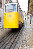 Lisbon's yellow tram royalty free stock photos