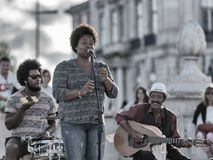 Lisbon shows off its African roots. Afro-Portuguese music band acting in Lisbon downtown to cheer the turists Royalty Free Stock Photos
