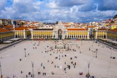 Lisbon sightseeing from above - The central square called Praca do Comercio