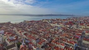 Lisbon from the sky stock footage