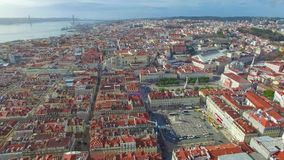 Lisbon from the sky stock video footage