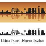Lisbon skyline. In orange background in editable vector file Stock Photography