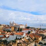 Lisbon, Portugal town skyline at the Alfama. royalty free stock image