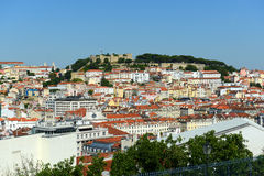 Lisbon skyline and Castle of Sao Jorge, Portugal Stock Image