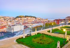 Lisbon skyline from famous viewpoint Stock Photography