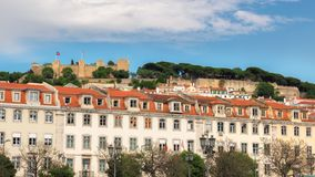 Lisbon old town and Sao Jorge Castle, Lisbon, Portugal. stock photos