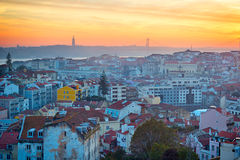 Lisbon skyline at sunset Royalty Free Stock Photography