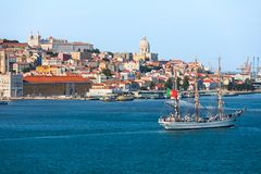 Lisbon skyline on the Tagus River, view of the old town, Portugal stock photos