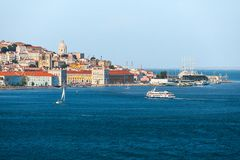 Lisbon skyline on the Tagus River, view of the old town, Portugal.  stock image