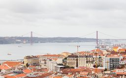 The Lisbon Skyline Towards the Ponte 25 de Abril. The view from Sao Jorge castle across the Lisbon skyline towards the Ponte 25 de Abril Stock Images
