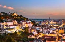 Lisbon stary grodzki pejzaż miejski, Portugalia zdjęcia stock