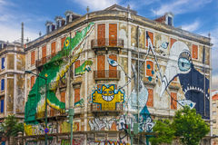 Lisbon street art. graffiti green crocodile. Painting house, Ave Royalty Free Stock Images