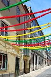 Lisbon street with holiday decoration Stock Images