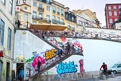 Lisbon street life Stock Photography