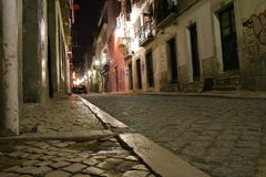Lisbon street by night. A street in old Lisbon, Portugal, by night Royalty Free Stock Photos