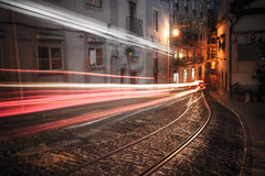Lisbon street at night Stock Images