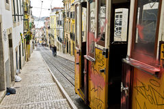 Lisbon Street and Tram Royalty Free Stock Images