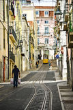 Lisbon Street and Tram Stock Photography
